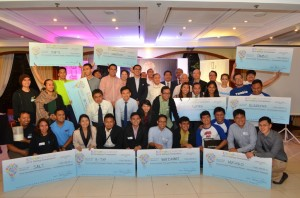 Winners of the IdeaSpace startup competition for 2014 are joined by judges led by IdeaSpace and PLDT group chairman Manuel V. Pangilinan. Ten teams will be receiving at least PhP1-million each worth ofseed funding and support under its acceleration program for technology entrepreneurs.