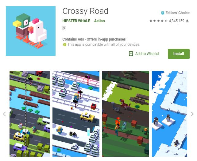 An image of a screenshot from the game Crossy Road, a 3-dimensional duck and a chicken stand by the upper left corner of the photo, one of the editors choice games