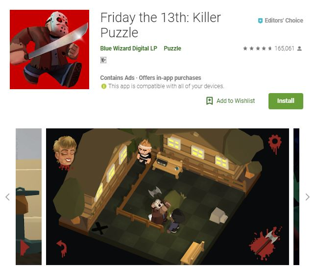A screenshot from the game Friday the 13th: Killer Puzzle, a photo of a killer about to kill his victim, one of editors choice games