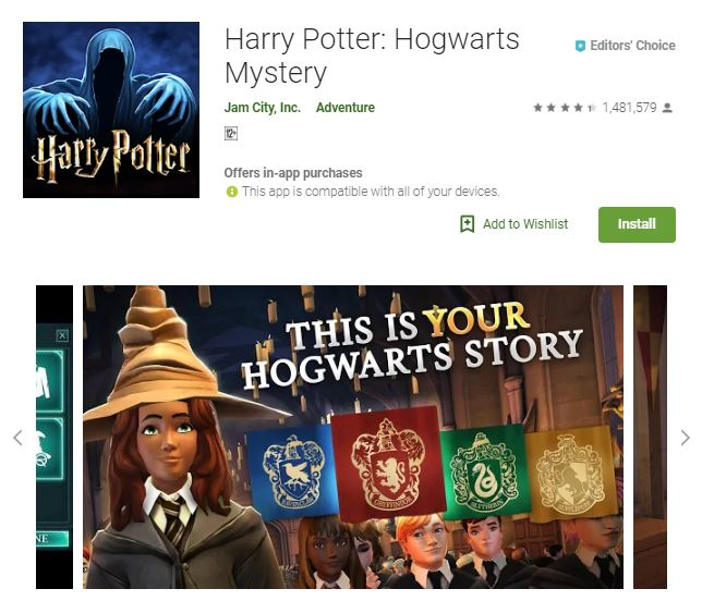 An image of a screenshot from the game Harry Potter: Hogwarts Mystery, an image of a girl in witch hat and Hogwarts uniform, one of the editors choice games