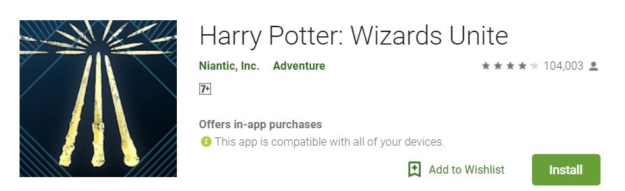 A screenshot of the game Harry Potter Wizards Unite from Google Play store, an image that shows the Harry Potter Wizards Unite logo by the left portion of the photo