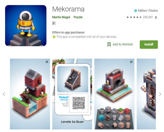 An image of a screenshot from the game Mekorama, 3-dimensional houses and housing materials, one of the editors choice games