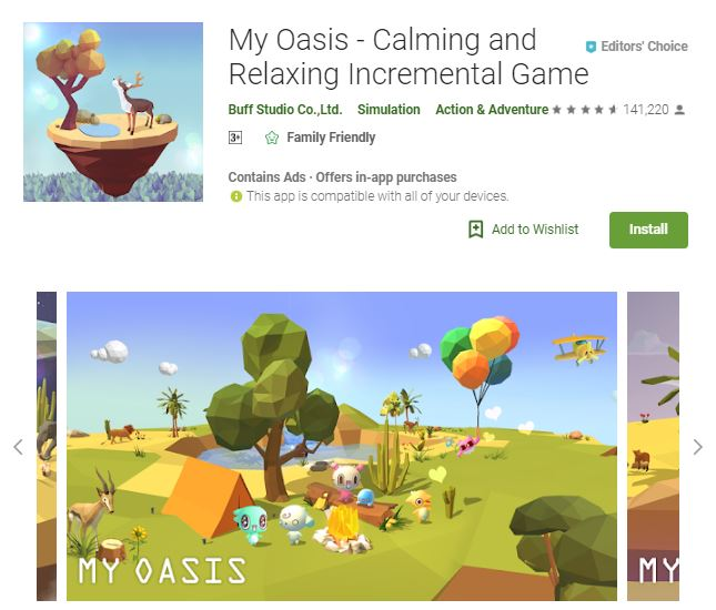 An image of a screenshot from the game May Oasis - Calming and Relaxing Incremental Game, photo of a colorful, 3-dimensional landscape with cute creatures enjoying campfire, one of the editors choice games