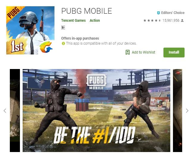 An image of a screenshot from the game PUBG MOBILE, image of two armored persons dueling against each other in a vast arena, one of the editors choice games