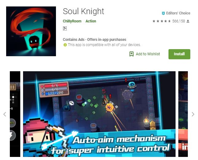 A screenshot image of the game Soul Knight, pixelated graphics of a little person, holding a bow, one of the editors choice games