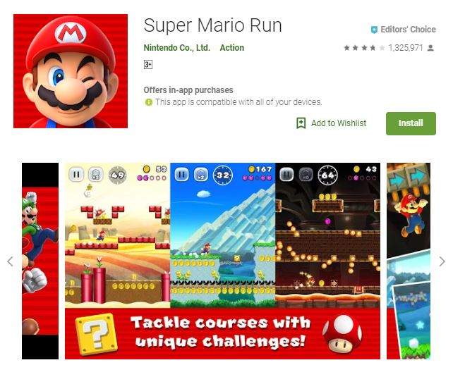 A screenshot image of the game Super Mario Run, a collage image of the different worlds in the game, one of the editors choice games