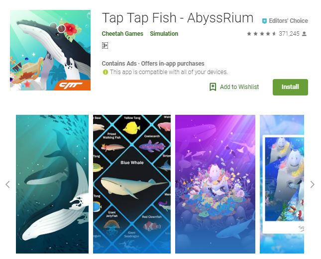 A screenshot from the game Tap Tap Fish - AbyssRium, photo of whales and other sea creatures, one of the editors choice games