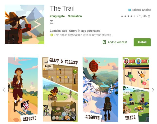 A screenshot image of the game The Trail, collage of landscapes and features of the game, one of the editors choice games