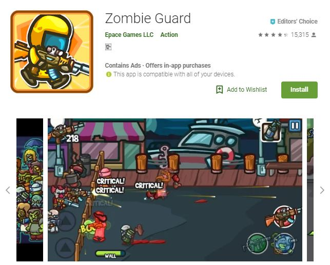 A screenshot image of the game Zombie Guard, small 2-dimensional visuals of zombies walking, one of the editors choice games