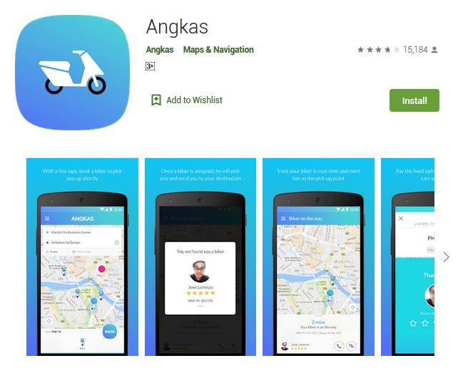 A screenshot photo of the mobile app Angkas