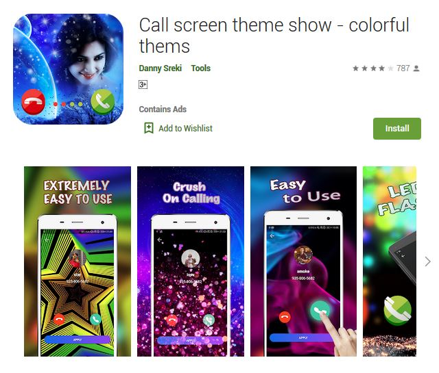 A screenshot photo of the mobile app Call screen theme show - colorful thems