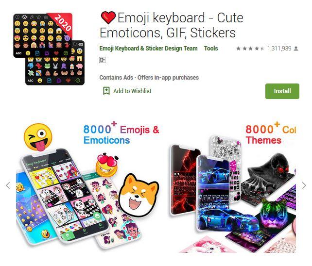 A screenshot photo of the mobile app Emoji Keyboard