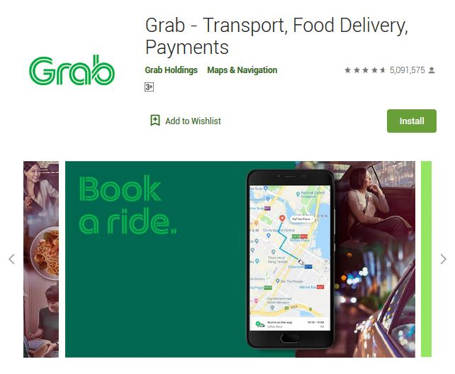 A screenshot photo of the mobile app Grab, one of the 50 Top Free Apps In Google Play