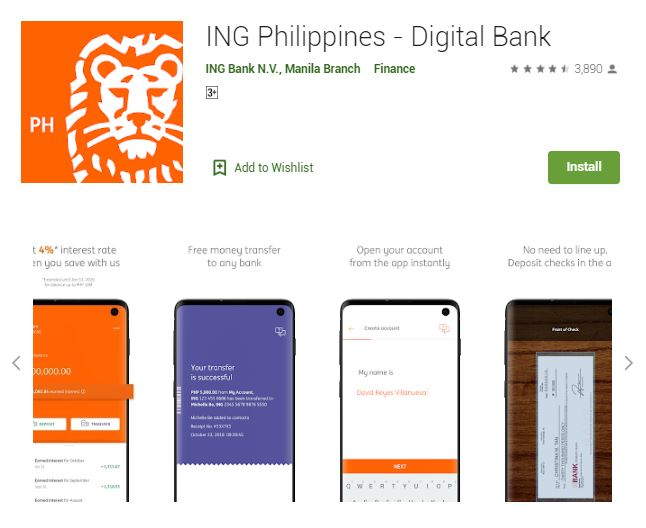 A screenshot photo of the mobile app ING Philippines - Digital Bank