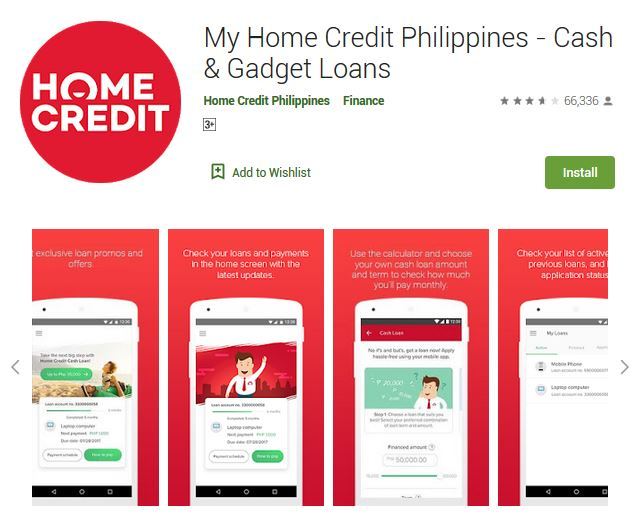 A screenshot photo of the mobile app My Home Credit Philippines, one of the 50 Top Free Apps In Google Play