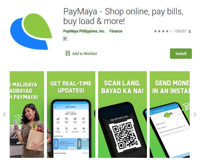 A screenshot photo of the mobile app PayMaya, one of the 50 Top Free Apps In Google Play