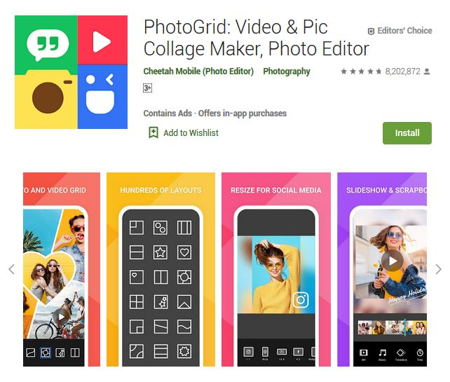 A screenshot photo of the mobile app PhotoGrid