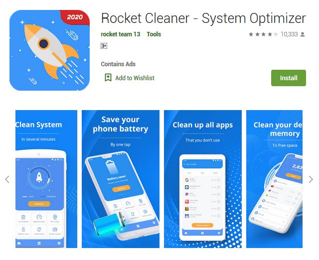 A screenshot photo of the mobile app Rocket Cleaner