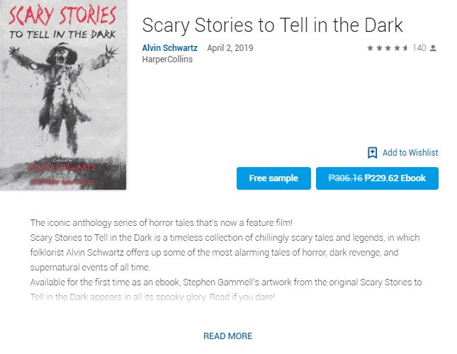 Screenshot photo of the Google Play's Best of 2019 Users' Choice 2019 Ebook: Scary Stories to Tell in the Dark