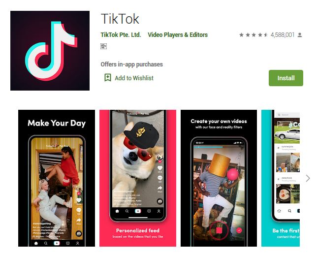 A screenshot photo of the mobile app TikTok, one of the 50 Top Free Apps In Google Play