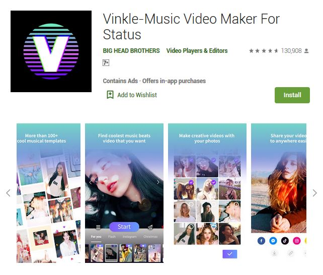 A screenshot photo of the mobile app Vinkle