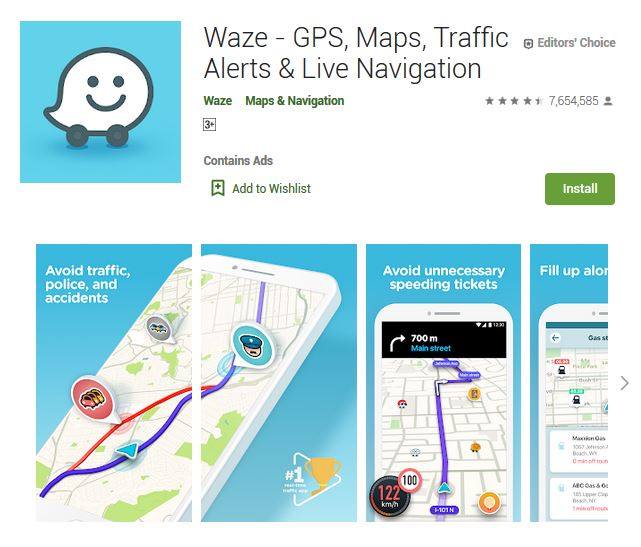 A screenshot photo of the mobile app Waze, one of the 50 Top Free Apps In Google Play