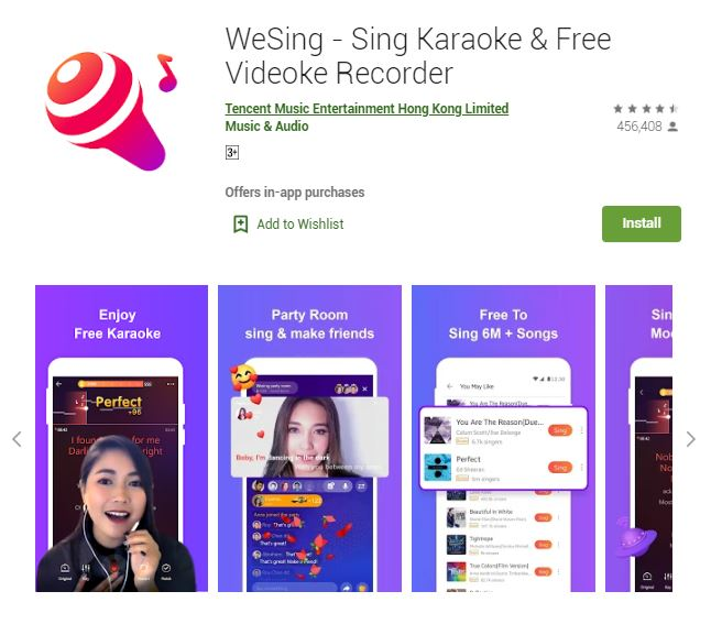 A screenshot photo of the mobile app We Sing - Sing Karaoke & Free Videoke Recorder, one of the 50 Top Free Apps In Google Play