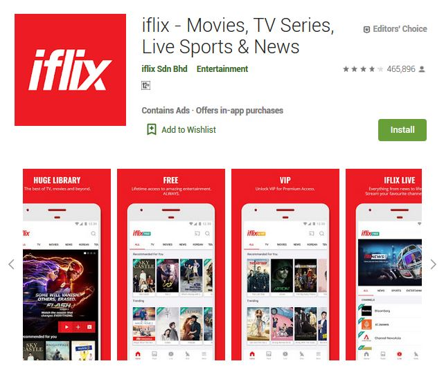 A screenshot photo of the mobile app iflix