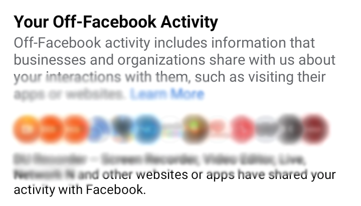 A screenshot of Off-Facebook Activity Page