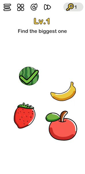 A screenshot of the Brain Out Answer for Lv. 1. There are four fruits in the photo.