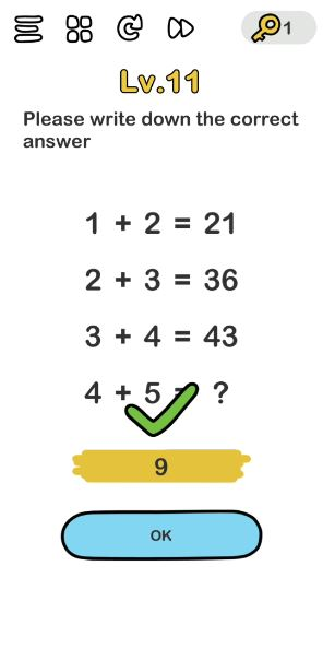 A screenshot of the Brain Out Answer for Lv. 11. There are different equations in the photo.