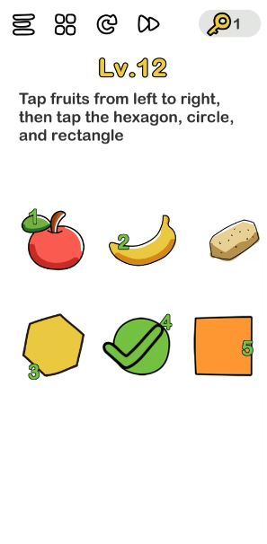 A screenshot of the Brain Out Answer for Lv. 12. There are different shapes, fruits, and a vegetable in the photo.