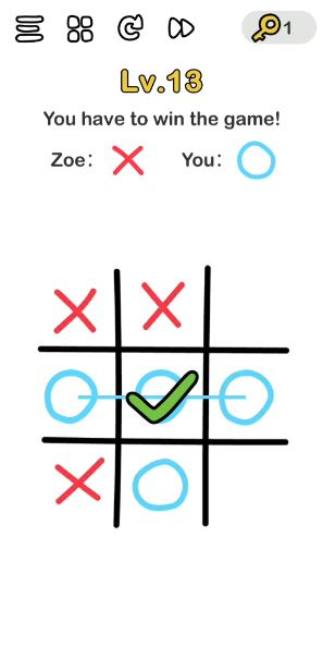 """A screenshot of the Brain Out Answer for Lv. 13. There are """"X"""" maks and """"O"""" marks in the photo."""