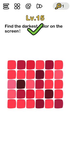 A screenshot of the Brain Out Answer for Lv. 15. There are different shades of red in the photo.
