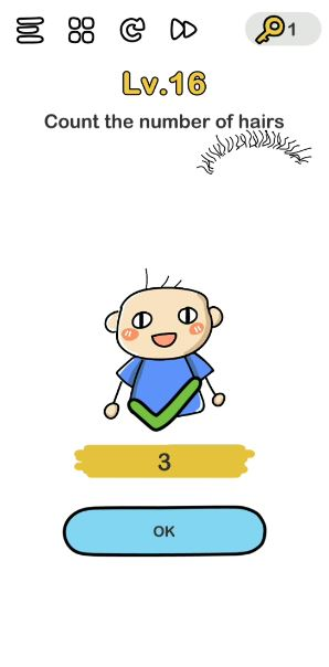 A screenshot of the Brain Out Answer for Lv. 16. There is a boy in the photo who only has a few strands of hair.