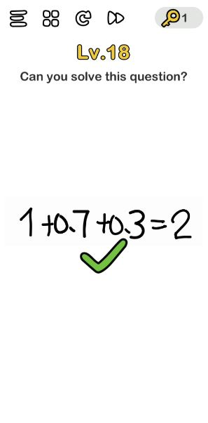 A screenshot of the Brain Out Answer for Lv. 18. There is an equation in the photo.