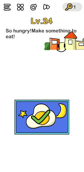 A screenshot of the Brain Out Answer for Lv. 24. There is a frame with a sunny-side-up egg in the photo.