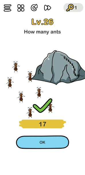 A screenshot of the Brain Out Answer for Lv. 26. There are ants and an ant hill in the photo.