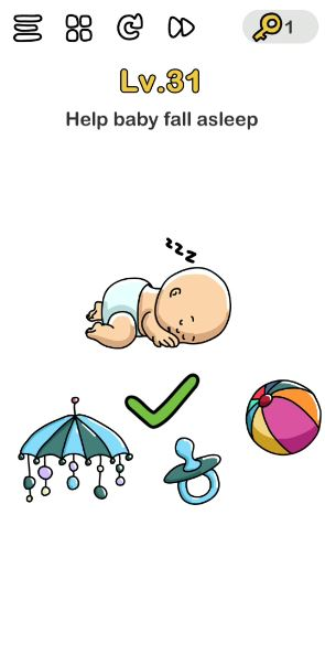 A screenshot of the Brain Out Answer for Lv. 31. There's a photo of a baby sleeping and three random objects.