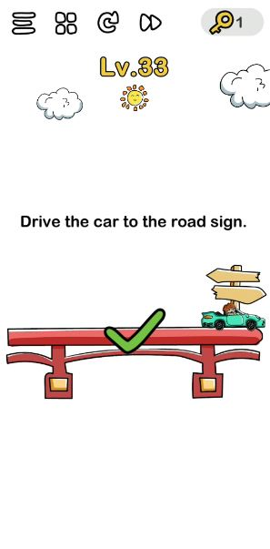 A screenshot of the Brain Out Answer for Lv. 33. There's a sun, clouds, bridge, car, and a road sign on this photo.
