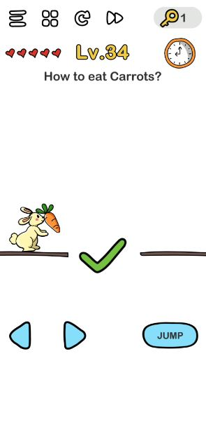 A screenshot of the Brain Out Answer for Lv. 34. There's a bunny holding a carrot on this photo.