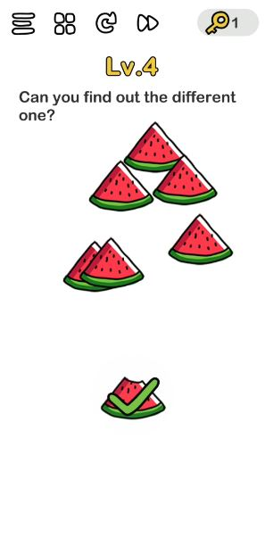 A screenshot of the Brain Out Answer for Lv. 4. There are watermelons in the photo.