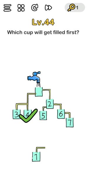 A screenshot of the Brain Out Answer for Lv. 44. There's a faucet and 7 cups in this photo.