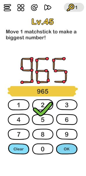 A screenshot of the Brain Out Answer for Lv. 45. There are numbers, lots of numbers.