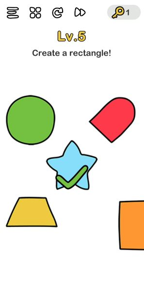 A screenshot of the Brain Out Answer for Lv. 5. There are different shapes in the photo.