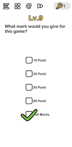 A screenshot of the Brain Out Answer for Lv. 9. There are 4 choices of ratings in the photo.