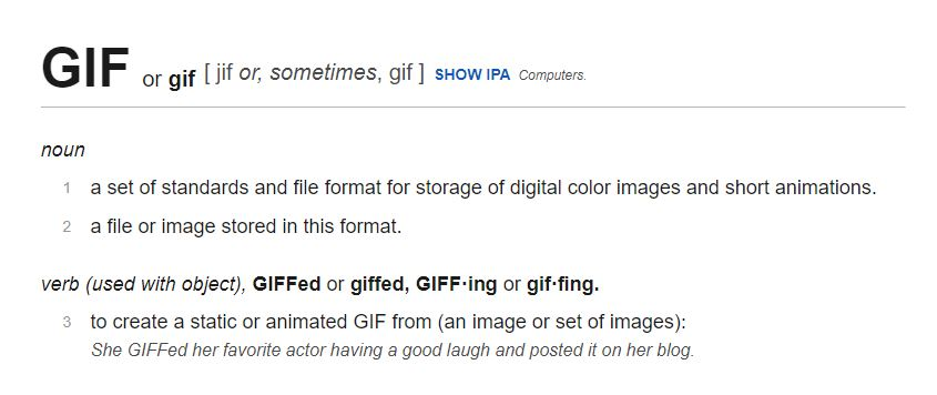 A screenshot of the pronunciation of GIF from dictionary.com