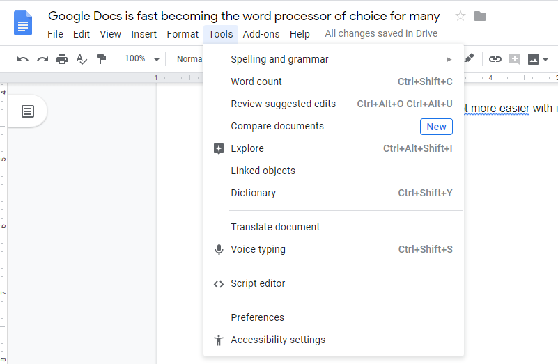 a screenshot of the Google Docs window when tools is clicked as part of the steps on how to use grammar checker in Google docs