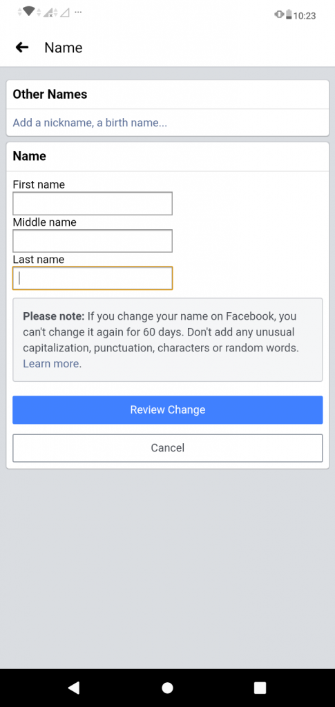 """Screenshot of the Other Names page on the Facebook App for the TechToGraphy """"How to Change Name in Facebook"""" blog."""