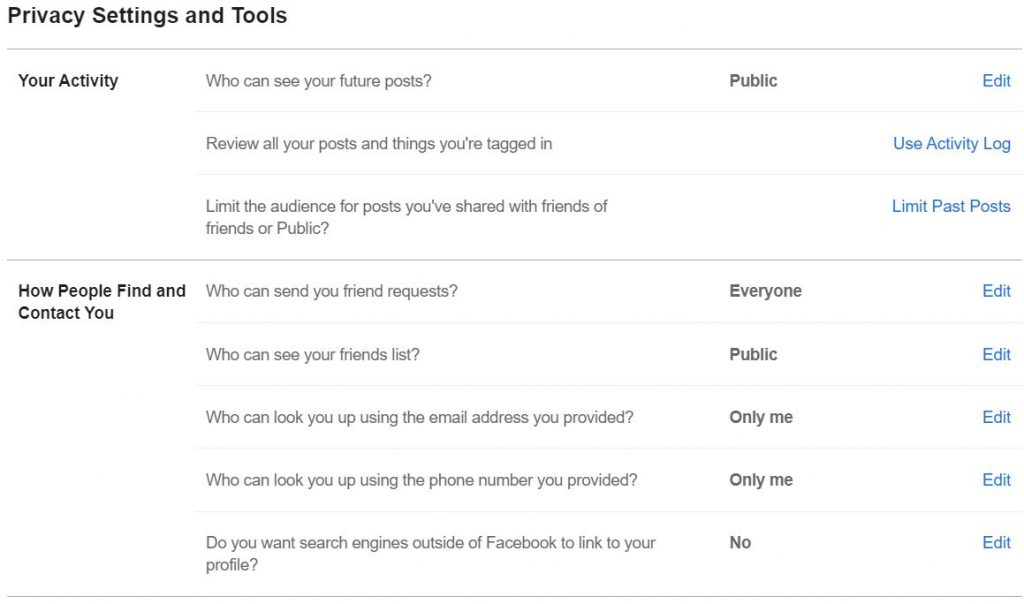 """A screenshot of """"Privacy Settings and Tools"""" page from New Facebook. This photo is for the """"How to Hide Friends in Facebook"""" blog in TechToGraphy."""